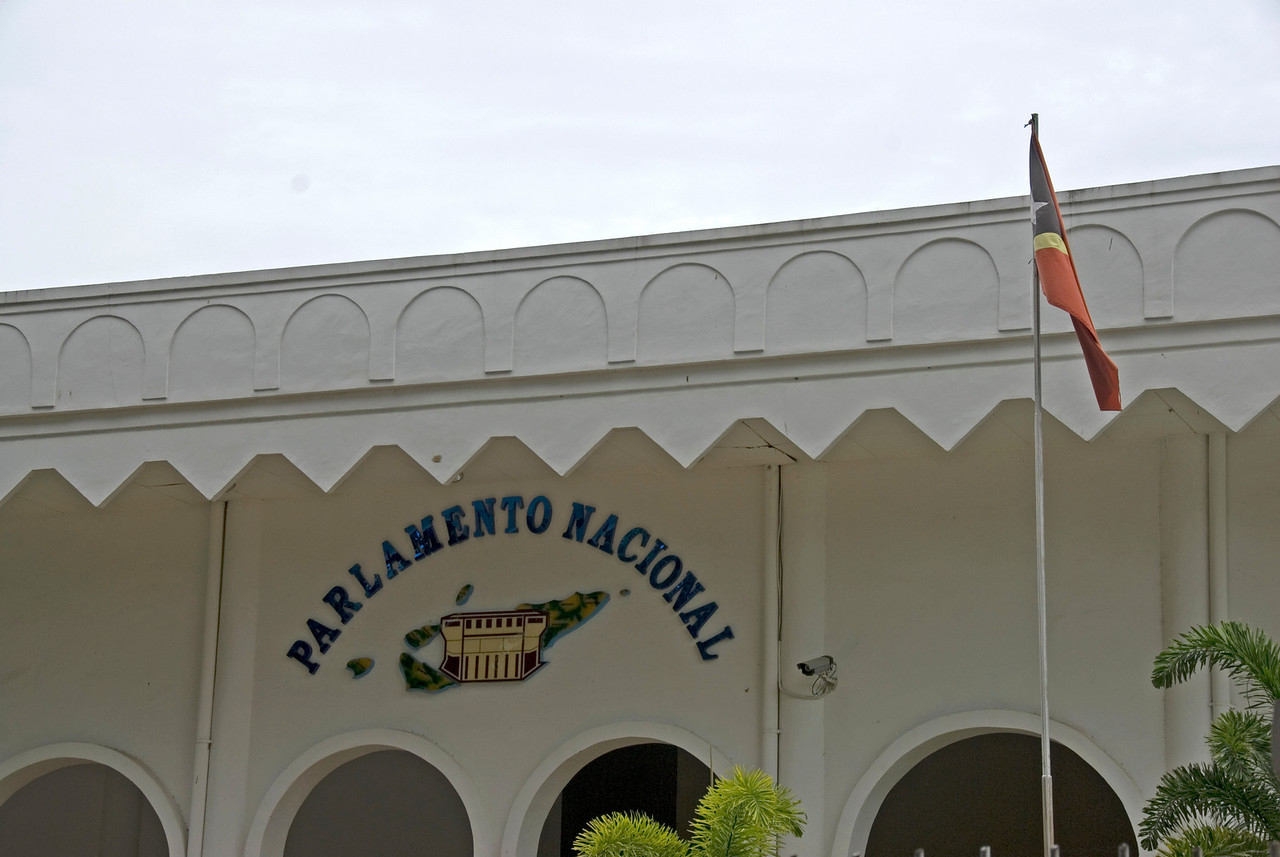 Flag waving outside the Parliament Building in Dili, East Timor