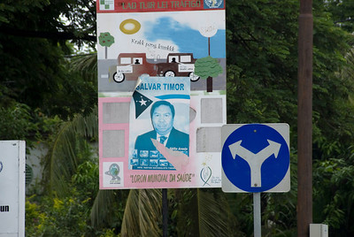 Campaign pamphlet plastered on a traffic sign at Dili, East Timor