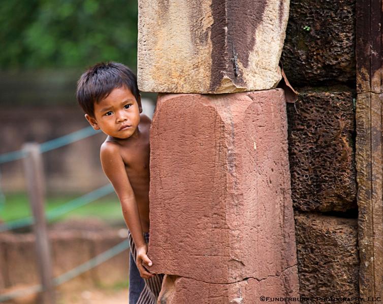 Little boy at Bantay Srei - Siem Reap, Cambodia
