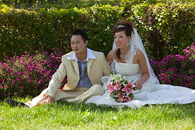 Wedding couple in park in Turpan, Xinjiang, China.