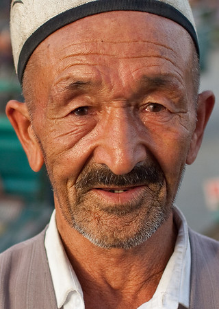 Yarkand, Xinjiang, China - September 25, 2009:  Portrait of a Uyghur man on the street in Yarkand. (Photo by: Christopher Herwig)