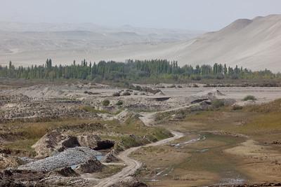 Jade mining along river in Hotan, Xinjiang, China.