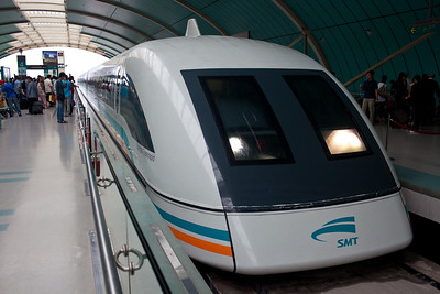 Shanghai, China - September 3, 2009:  Maglev high speed magnetic train which travels from Shanghai to its international airport. (Photo by: Christopher Herwig)