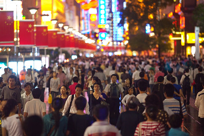 Shanghai, China - September 3, 2009: East Nanjing Road is the most polular shopping street in Shanghai and is partially blocked to traffic.  (Photo by: Christopher Herwig)