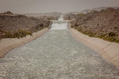 Irrigation canal in Hotan, Xinjiang, China.
