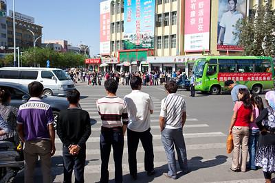 Crosswalk in downtown Turpan, China.