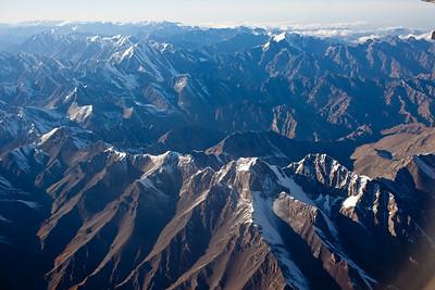 Aerial views of mountains south of Urumqi, Xinjiang, China.