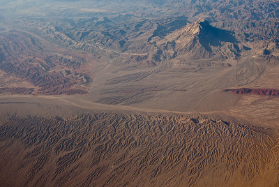 Aerial view of northern edge of the Taklamakan desert , Xinjiang, China.