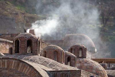 Tbilisi, Georgia - January, 2008: Steam rising the Tbilisi Sulphur Baths. (Photo by Christopher Herwig)