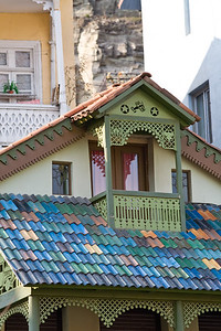Tbilisi, Georgia - January, 2008: Colorfully painted balcony in old Tbilisi. (Photo by Christopher Herwig)