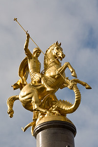 Tbilisi, Georgia - January, 2008: Large statue of St. George slaying the dragon in Tavisuplebis Moedani (Freedom Square) in the center of Tbilisi, Georgia. (Photo by Christopher Herwig)