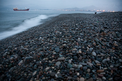 Black sea port of Batumi, Georgia on a rainy night in January.