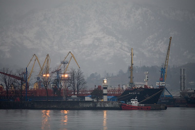 Batumi, Georgia - January, 2008:Ships at the Georgian Black Sea port of Batumi on a winter's night. (Photo by Christopher Herwig)