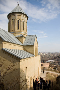 Tbilisi, Georgia - January, 2008: View over Tbilisi, Georgia from Narikala Forress with the Church of St. Nicholas in the foreground. (Photo by Christopher Herwig)