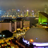 First night view of the nightly Symphony of Lights show over Victoria Harbour from our room at the Sheraton