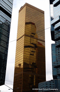 An entirely gold building, perhaps heralding China's haul from the Beijing Olympics