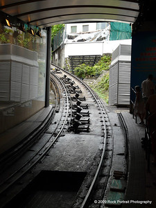 Train to The Peak - travels at about 45 - 60 degrees