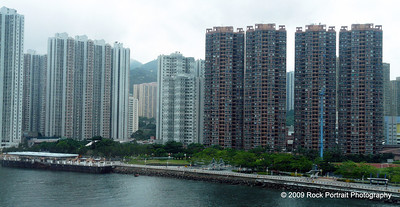 Tall, thin apartment blocks dominate the Hong Kong skyline
