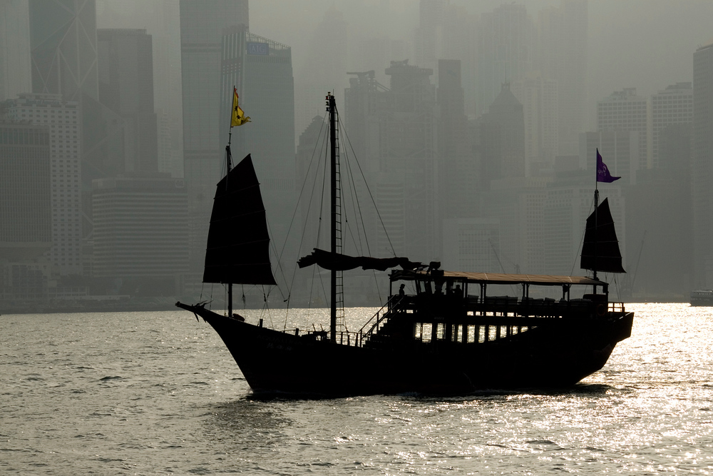 Junk in Hong Kong Harbor