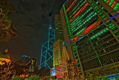 Bright lights at beautiful Hong Kong skyline during Christmas season