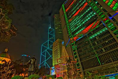 Bright lights at beautiful Hong Kong skyline during Christmas season