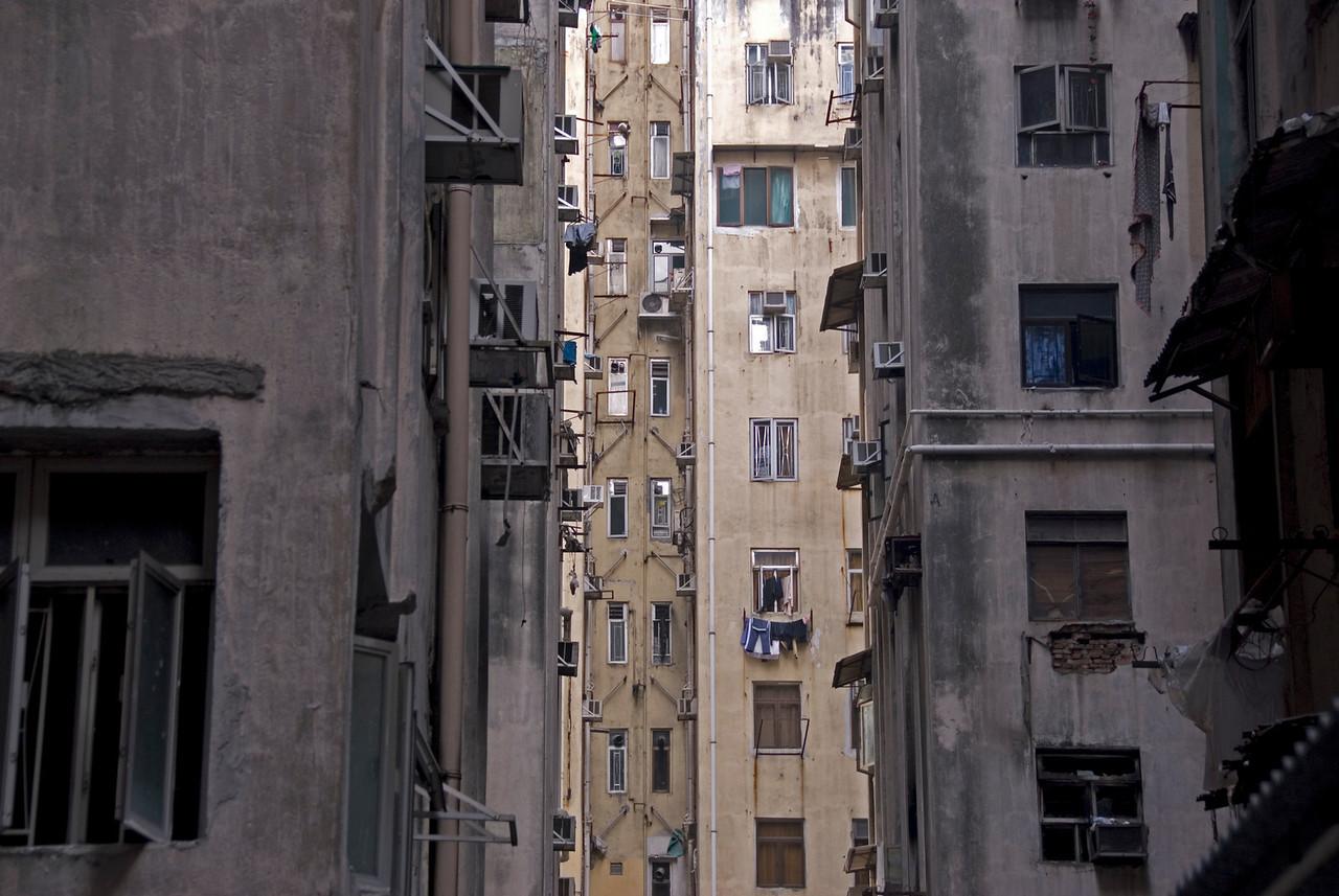 Shot of the Chungking Mansions from afar at Kowloon, Hong Kong