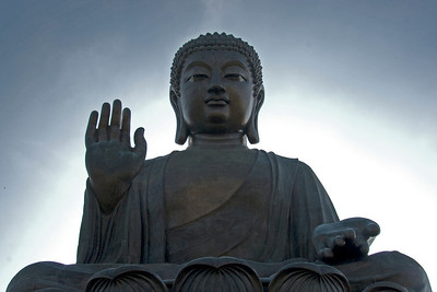 Front view of the Big Buddha statue at Po Lin Temple in Hong Kong