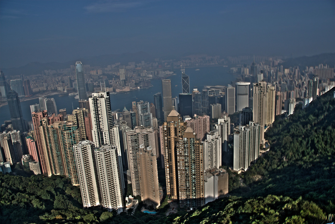 Wide perspective of the city skyline from the Victoria Peak in Hong Kong