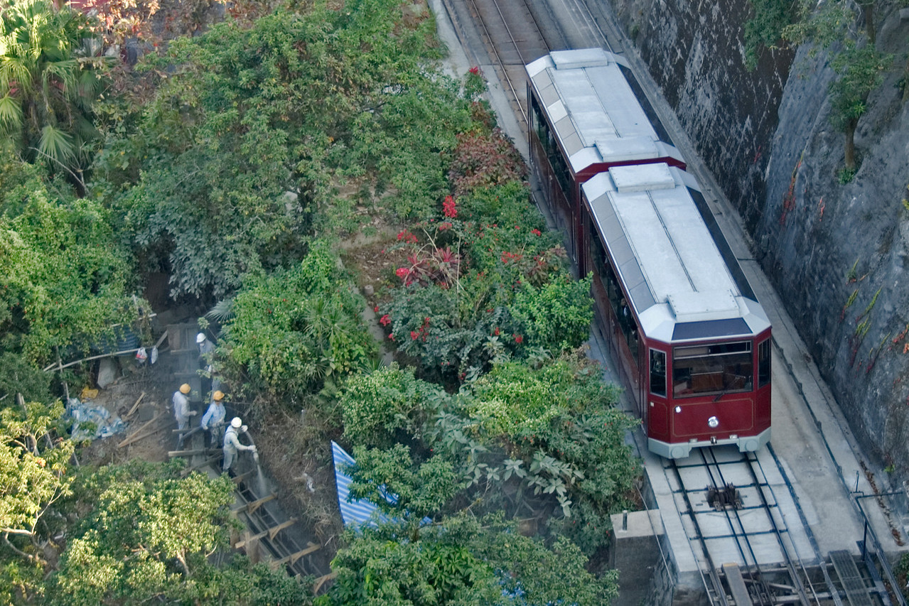 Overhead shot of the Peak Tram in Hong Kong
