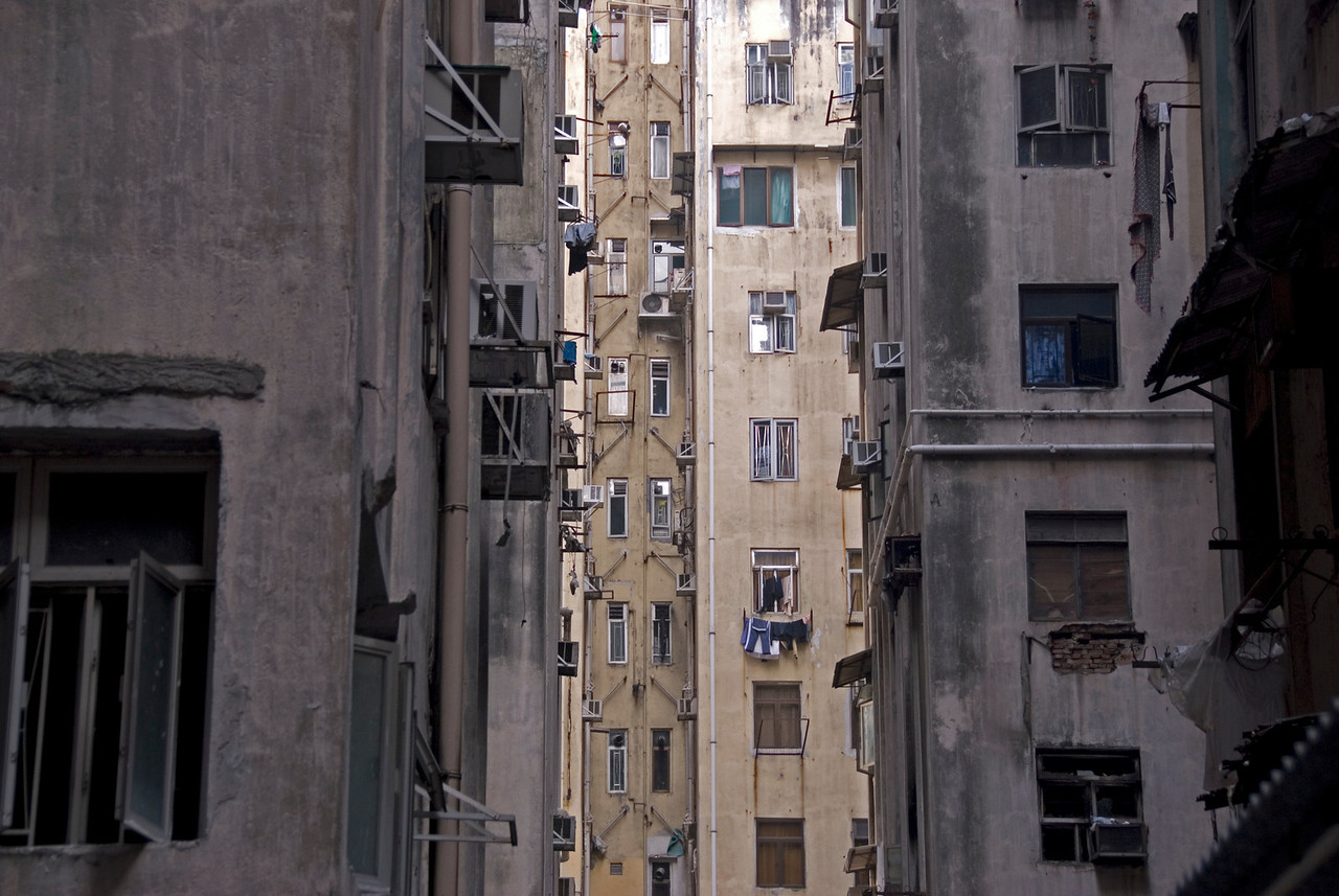 A shot of the blocks in between Chungking Mansions in Hong Kong