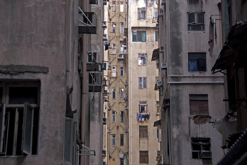 A shot of the blocks in between Chungking Mansions in Hong Kong