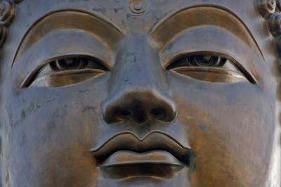 Close-up of the Tian Tan Buddha at Po Lin Temple in Hong Kong