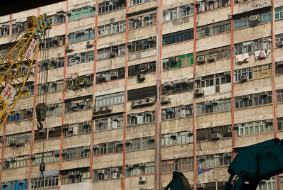 Windows at the facade of Chungking Mansions in Kowloon, Hong Kong