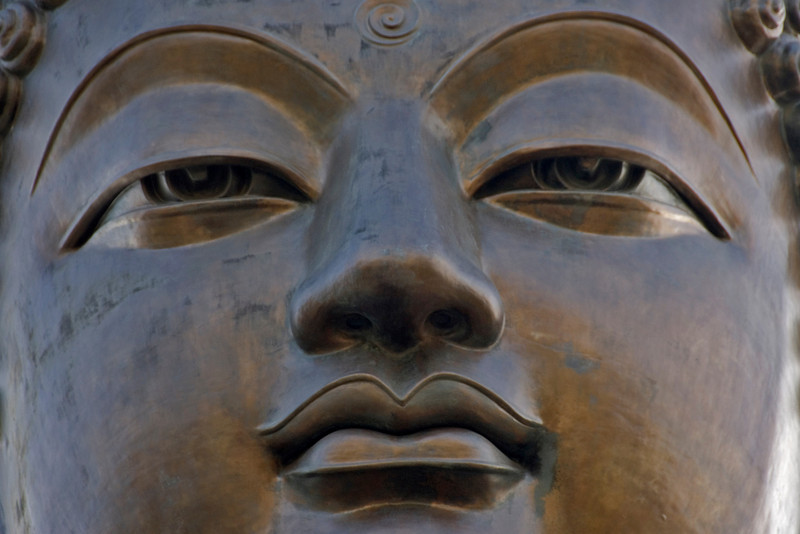 Facial features of Big Buddha statue in Po Lin Temple