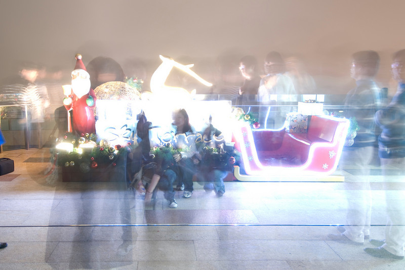 Ghostly light reflection at Christmas display at Victoria Peak Tower