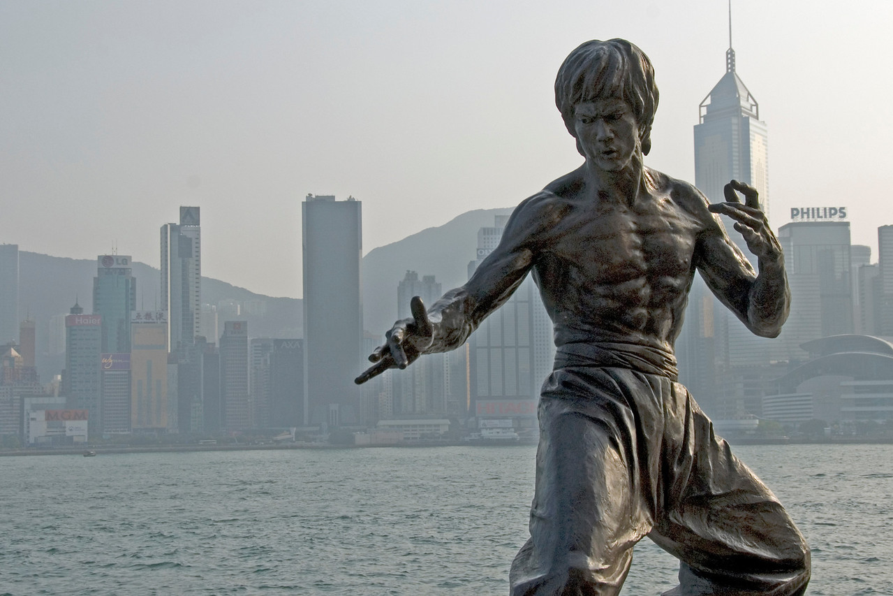 Bruce Lee Statue at the Walk of the Stars in Hong Kong