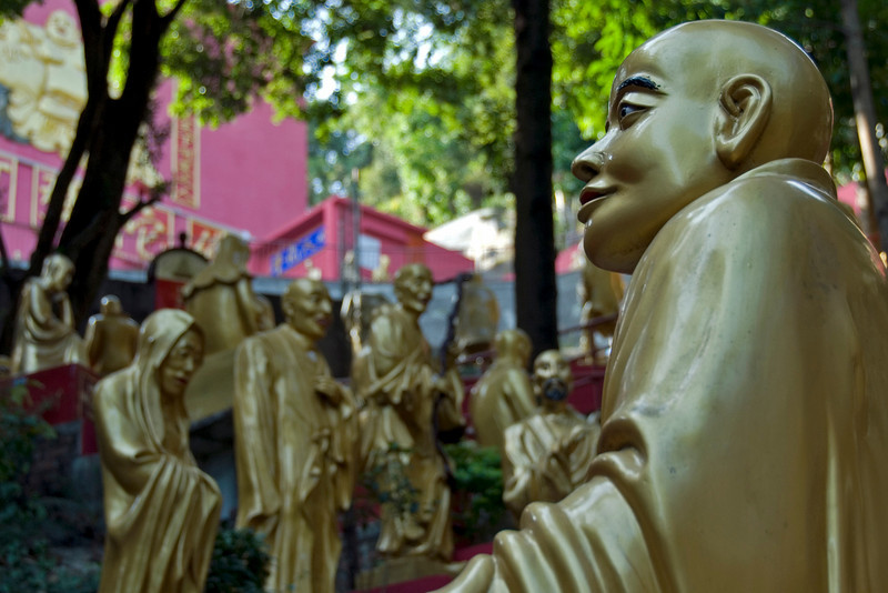 More Buddha statues inside the 10,000 Buddhas Temple in Hong Kong