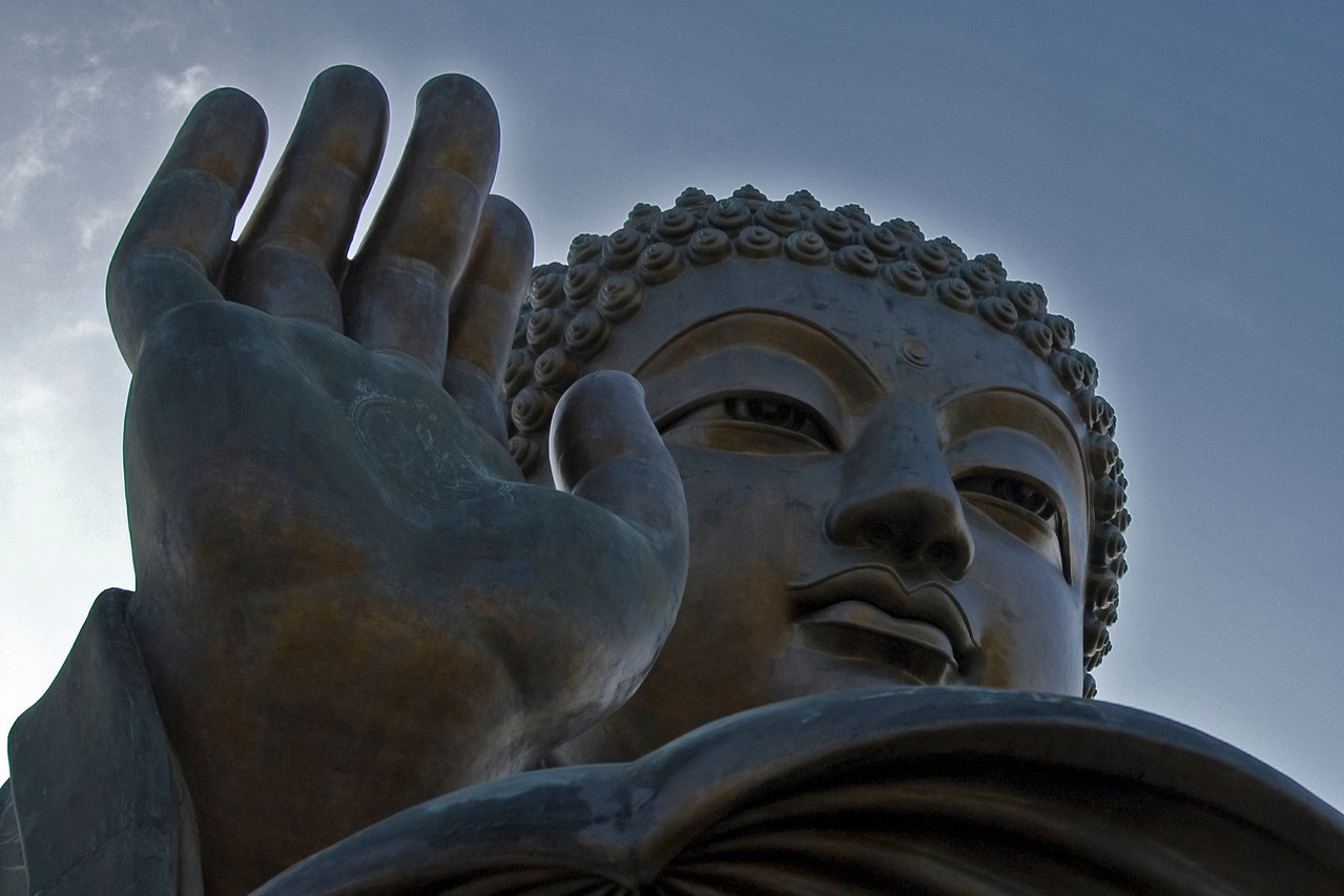Close view of the Tian Tan Buddha in the Po Lin Temple