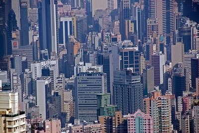 Looking down on towering buildings in Hong Kong
