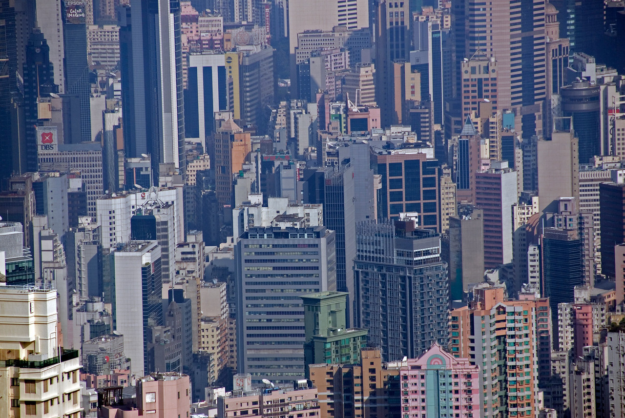 Looking down on towering buildings in Hong Kong