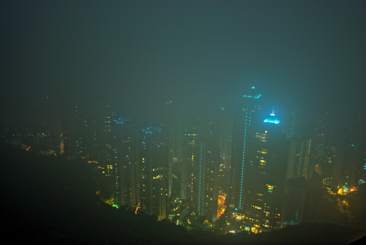 Foggy view of the night skyline in Hong Kong