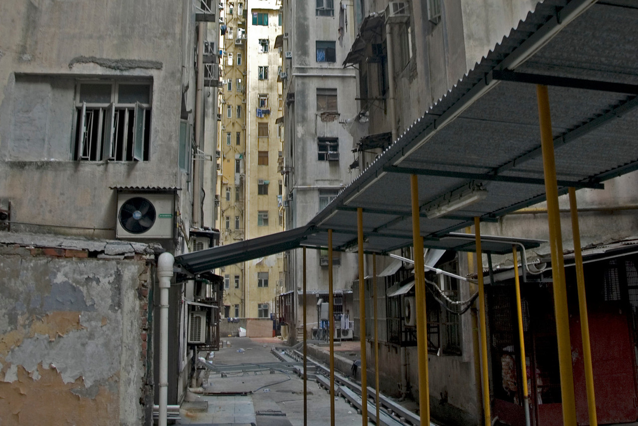 Shot of an empty alley near Chungking Mansions in Kowloon