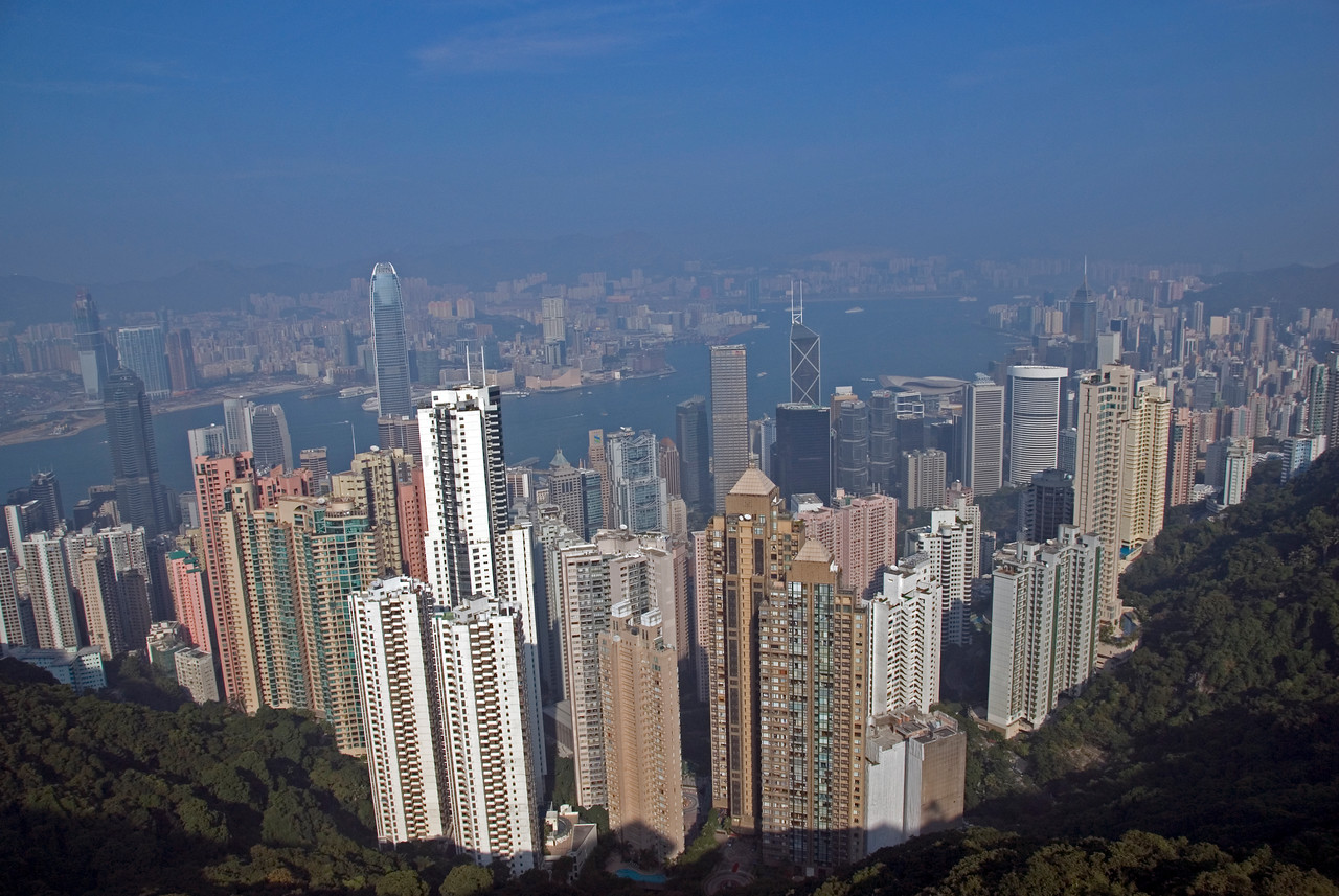 Beautiful view of the skyline from Victoria Peak in Hong Kong