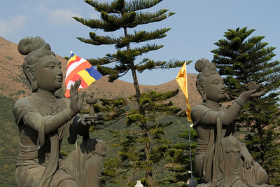 Two Buddha statues inside the Po Lin Temple in Hong Kong