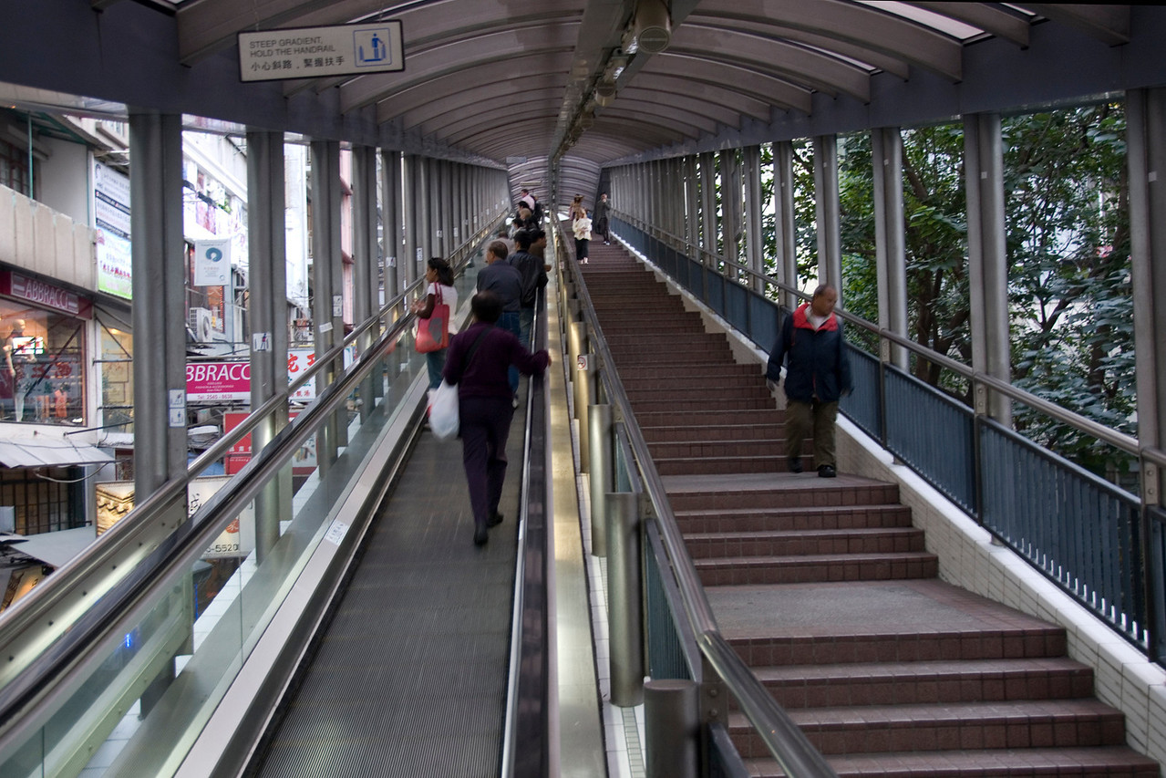 Locals riding the escalator in the city of Hong Kong