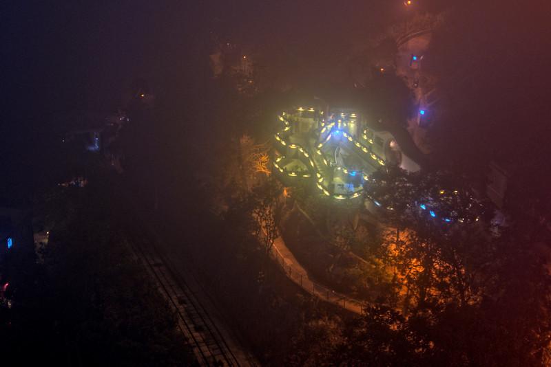 Shot of the Victoria Peak at night in Hong Kong