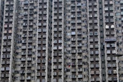 Shot of windows of apartments in Hong Kong