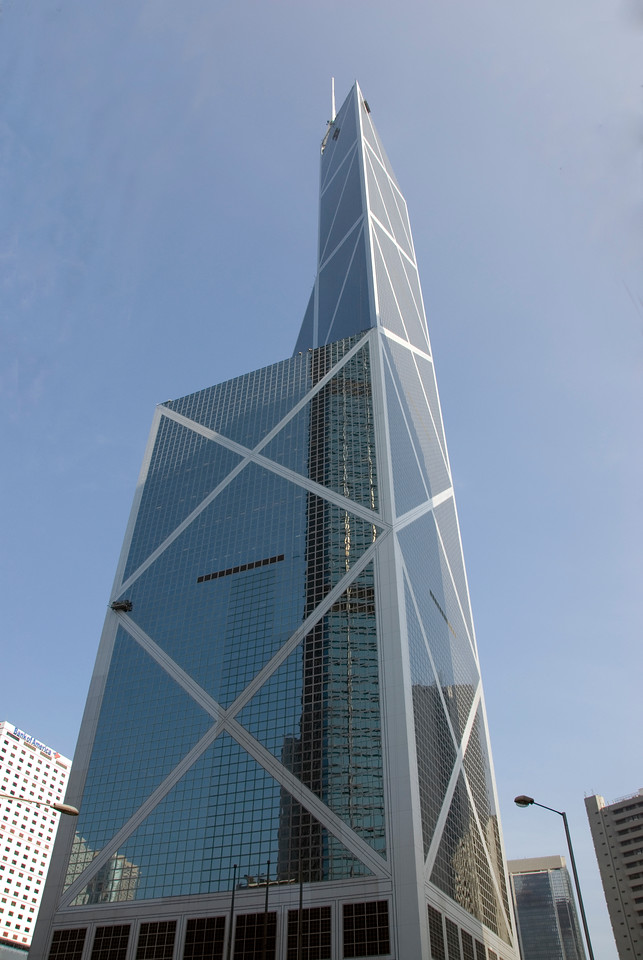 Modern architecture of the Bank of China building in Hong Kong