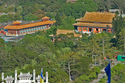 Overhead shot of the Po Lin Temple complex in Hong Kong