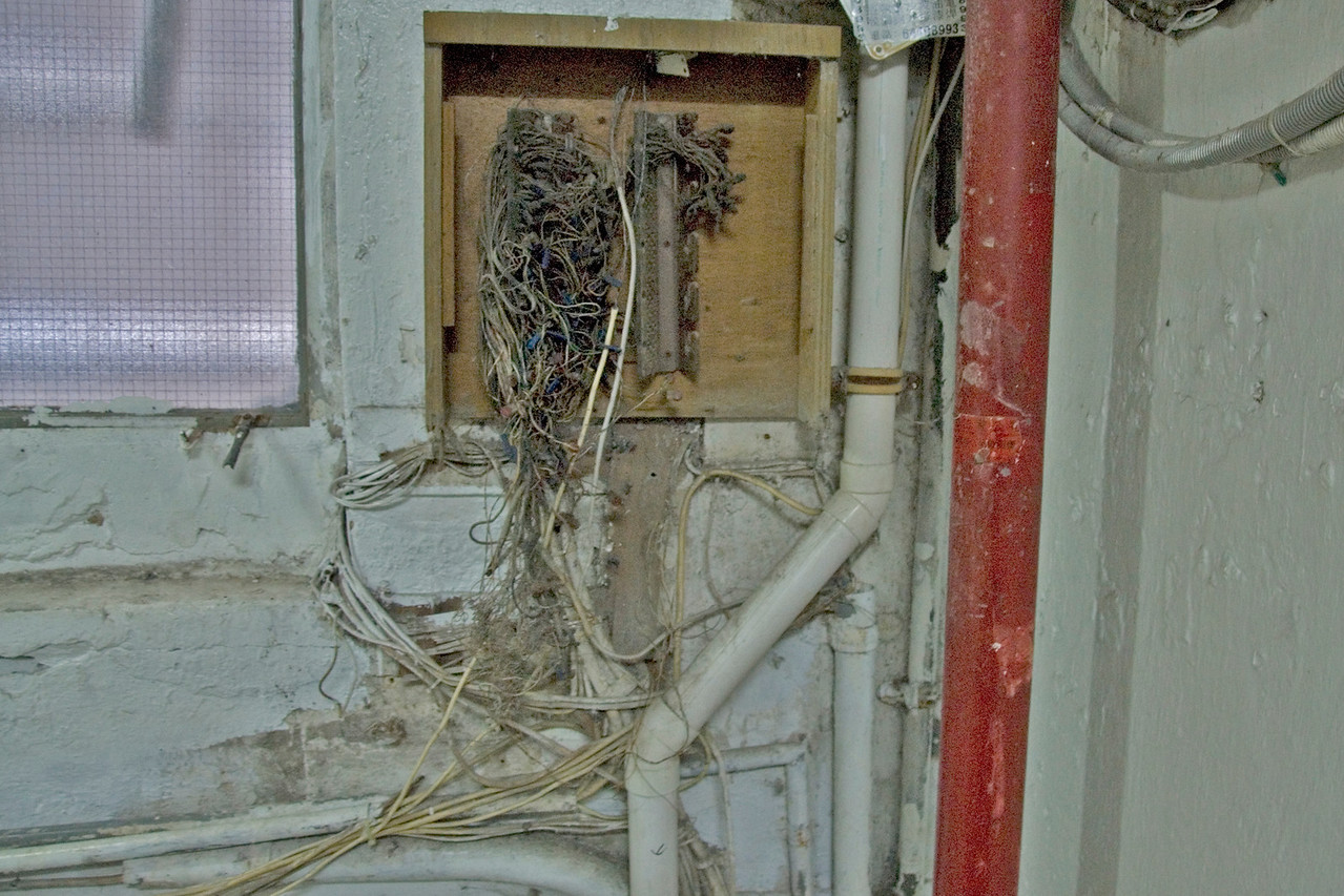 Exposed wiring inside the Chungking Mansions in Hong Kong